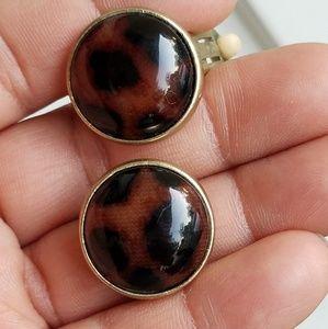 Jewelry - Vintage leopard print earrings